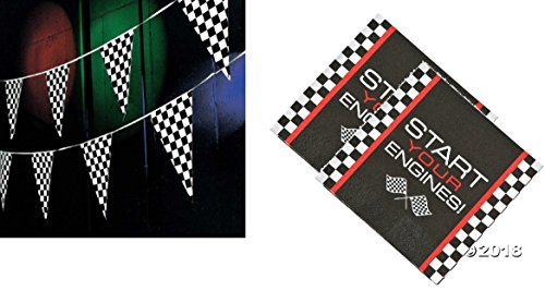 Awesome Race Car/Checkered Flag Decor/Supplies - 100 ft. Pennant Race Banner & 16 Race Luncheon Napkins
