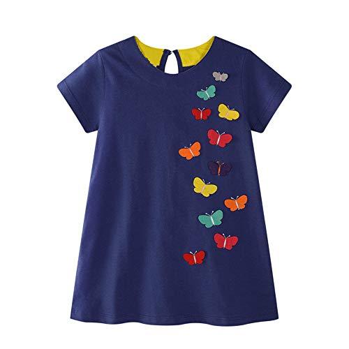 DXTON Toddler Girls Summer Casual Cotton Dresses Short Sleeve Girls JM6808DX-7T