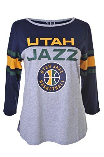 fan products of NBA Women's Utah Jazz T-Shirt Raglan Baseball 3/4 Long Sleeve Tee Shirt, Small, Navy