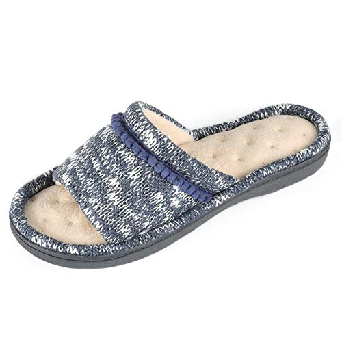 RockDove Women's Knit Open Toe Slipper with Pom Embroidery, Size 7-8 US Women, Navy - Mini Plush Terry