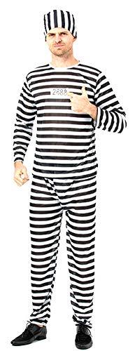 SUKRAGRAHA Long Sleeve Halloween Prisoner Costume Set T-Shirt Trouser Zebra Pattern 44 inch ()