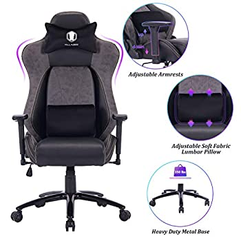 Image of VON RACER Big and Tall Gaming Chair Racing Office Chair - Adjustable Back Angle, Soft Fabric Lumbar Support and Arms Ergonomic High-Back Leather Computer Desk Swivel Chair w/Metal Base, Black Home and Kitchen