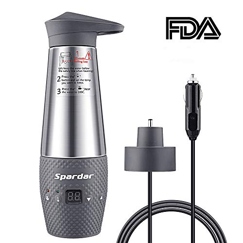Spardar Water Heating Cup for Car Double Wall Vacuum Insulated Stainless Steel Automatic Working Car Cigarette Lighter DC12V Electric Kettle Boil Water (Gray) ()