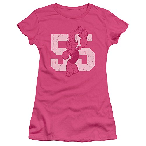 Sheer Popeye - Trevco Popeye 55 Juniors' Sheer Fitted T Shirt, Small Hot Pink
