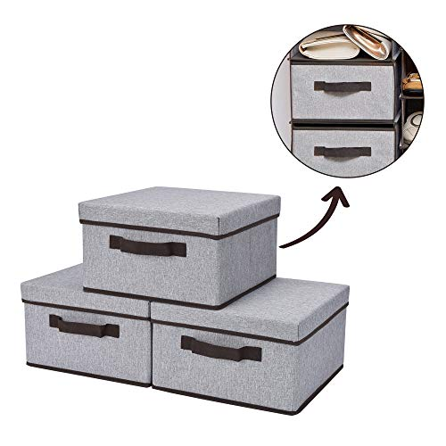 StorageWorks Storage Drawer with Lid, Foldable Basket Bin for Hanging Closet Organizer, Gray, 3-Pack