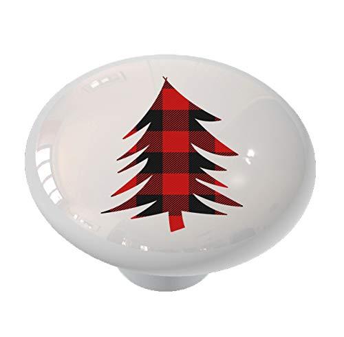 (Pine Tree Red Plaid Drawer/Cabinet Knob by Gotham Decor)