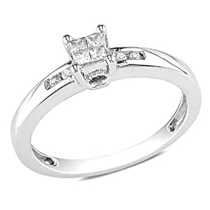 Sterling Silver Created Sapphire and Accent Diamond Ring (0.12 Cttw, G-H Color, I2-I3 Clarity)