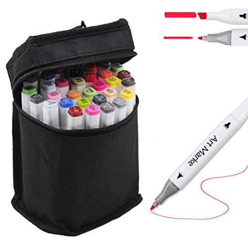 (36 Colors Dual Tips Art Markers Pens for Kids Adults, Permanent Markers Highlighter Pens with Carrying Case for Illustration Drawing Sketching Adult Coloring Highlighting and)
