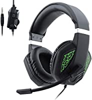 Gaming Headset with Mic for PS4 Xbox One Stereo Surround Noise-Reduction Over Ear Headphones with Light Effect