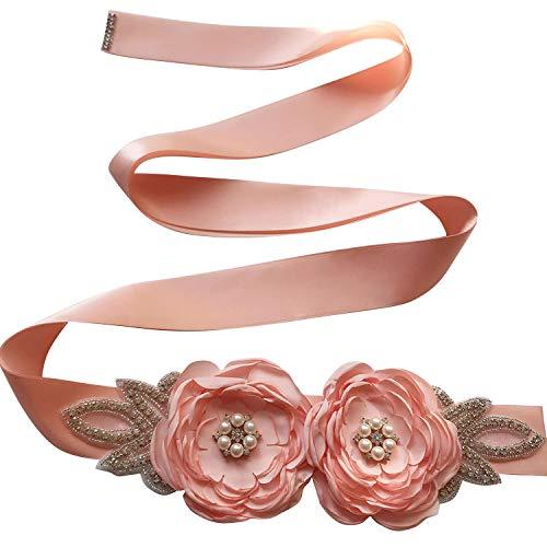 Maternity Sash Belt with Flower, Floral Baby Shower Belly Sash, Flower Girl Sash, Pregnancy Sash Belt for Photography (deep pink)