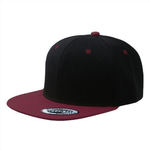 Cap911 Blank Adjustable Flat Bill Plain Snapback Hats Caps (All Colors) (One Size, Black/Burgundy) -
