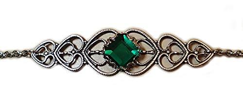 Moon Maiden Jewelry Emerald Green Celtic Elven Elf Silver Filigree Circlet Headpiece Headdress Crown Rennaissance Medieval Halloween Costume