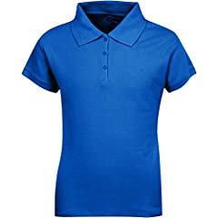 Short sleeve pique knit shirt school uniform. Cotton/poly blend. Polo style button front pique knit shirt with short sleeves.