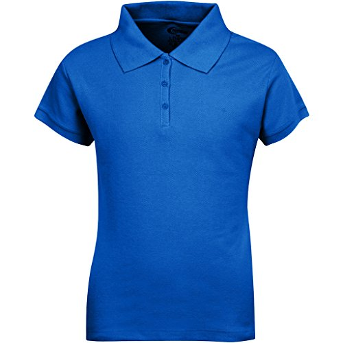 Premium Short Sleeves Girls Polo Shirts Royal Blue L 14/16
