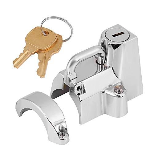 Keenso Universal Motorbike Helmet Lock Hanger Hook 7//8 Motorcycle Helmet Lock 2 Keys Locking Set Chrome Silver