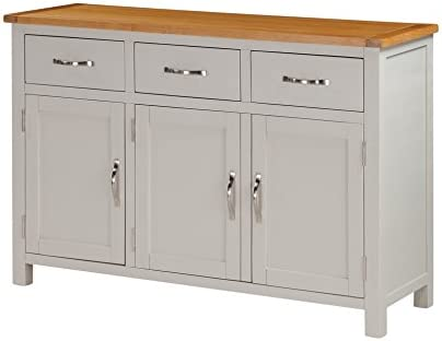 Metro Painted Oak Large Sideboard With 3 Drawers And 3 Doors Finish Stone Painted Sides And Oak Top Living Room Hallway Dining Room Furniture Amazon Co Uk Kitchen Home