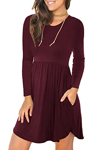 LONGYUAN Women's Casual Loose Plain Dresses Short Dress X-Small, Claret]()