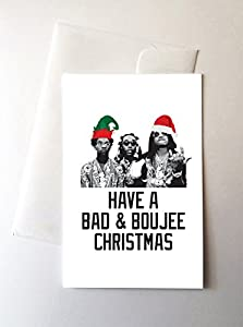 Amazon 2 pack migos bad boujee merry christmas greeting 2 pack migos bad boujee merry christmas greeting cards 425x55 inch m4hsunfo