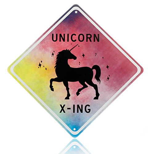 - Unicorn room decor - unicorn crossing sign, beautiful bedroom wall decoration for girls. put the poster away and add magic to any girls room with our novelty aluminum x-ing unicorns signs