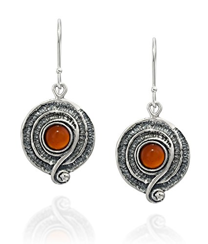 Vintage Style Sterling Silver Carnelian Gemstone Dangle Earrings with Decorative Spiral or Swirl ()