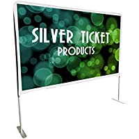 STE-169150 Silver Ticket Entry Level Indoor/Outdoor Portable Backyard Movie Projector Screen White Cloth Material (STE 16:9, 150)