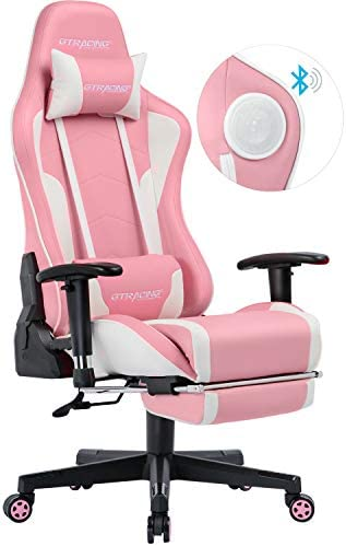 GTRACING Gaming Chair with Footrest and Bluetooth Speakers Music Video Game Chair Heavy Duty Ergonomic Computer Office Desk Chair Pink