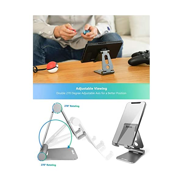 All Android Smartphone Switch Cell Phone Stand for Desk Gray RYYMX Phone Holder for Desk Adjustable : Desk Phone Stand Compatible with iPhone Xs Max Xr X 8 7 6 6s Plus SE 5s Kindle Accessories