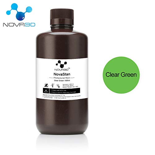 NOVA3D LCD UV 405nm Rapid Resin for Photon 3D Printer (Clear Green, 500ml) (Best Printer For Printing Artwork)