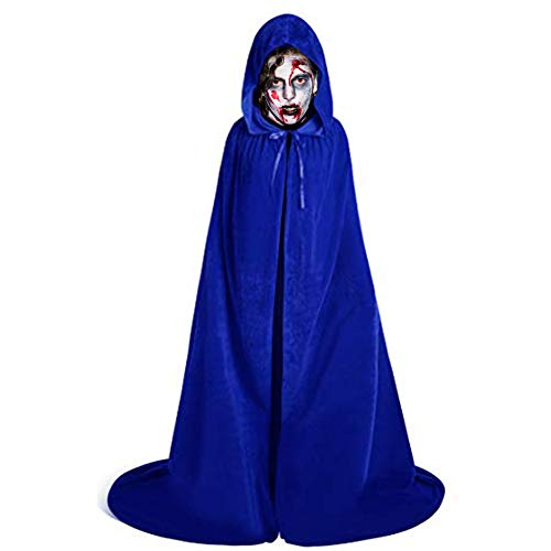 LALIFIT Unisex Velvet Full Length Hooded Robe Cloak Halloween Long Cosplay Costumes Party Cape(Royal Blue,L) -