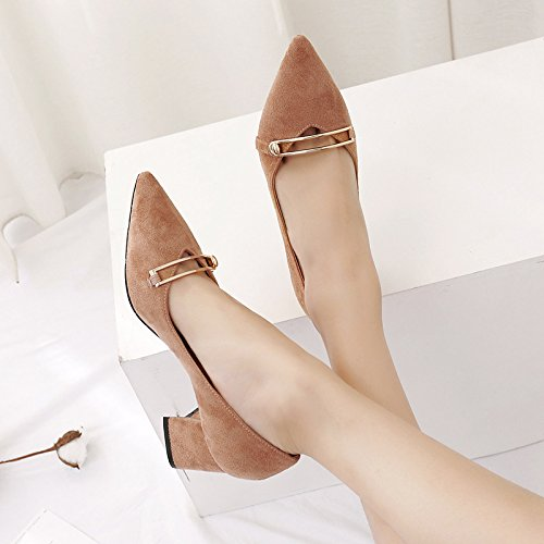 Simples Bouche Peu Gras De Mtal Fermoir Chaussures La Une Pour Femme En Avec 35 Profonde Femmes Paire Kaki Mode 7n7A8O0