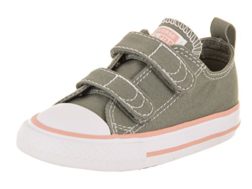 Converse Toddlers Chuck Taylor All Star 2V Ox Dark/Stucco/Pale/Coral/White Basketball Shoe 6 Infants US (Toddler Converse Shoes)