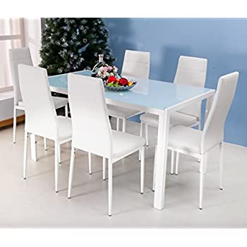 Merax 7PC Glass Top Dining Set 6 Person Dining Table And Chairs Set Kitchen  Modern Furniture