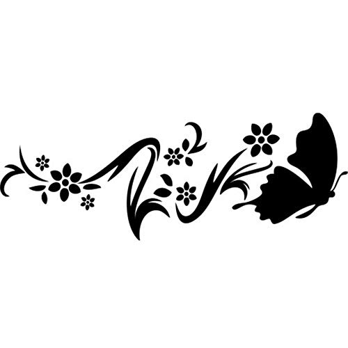 Ayiap Stickers Vinyl Wall Art Decals Letters Quotes Decoration French Quote Jolies Fleurs Et Papillon Mignon Pour Le Salon Pretty Flowers and Cute Butterfly for Living Room ()