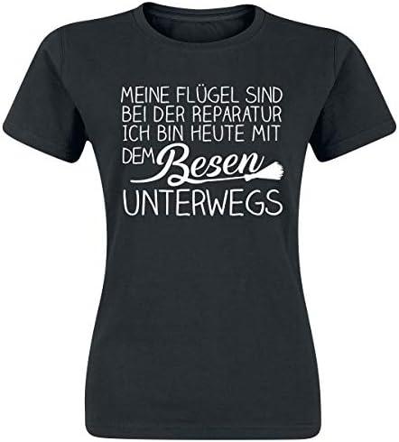 Moje skrzydła są w przypadku naprawy dla kobiet T-shirt czarny Fun-Merch, zrÓwnoważony rozwÓj, napisy: Odzież