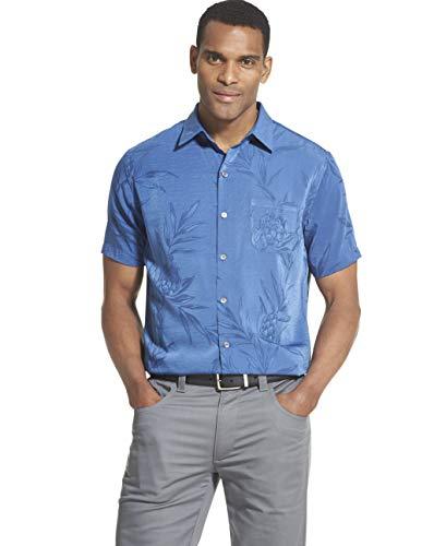 Van Heusen Men's Air Tropical Short Sleeve Button Down Shirt, True Navy, ()