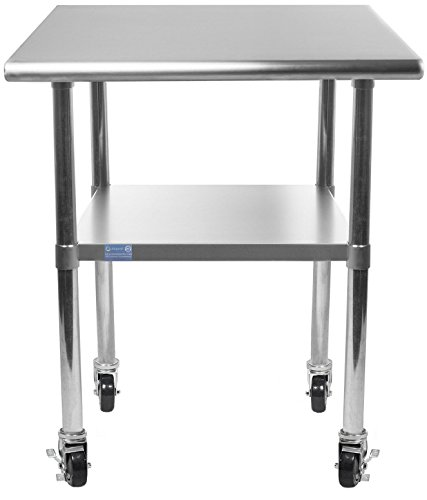 AmGood Stainless Steel Work Table - with Undershelf & Casters (Wheels)   Food Prep   Utility Work Station   NSF Certified   All Sizes (24