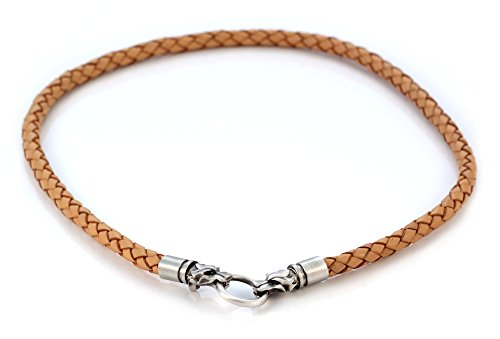 Bico 6mm (0.24 inch) Brown Braided Leather Necklace 22 inch Long with Hand-Made Clasps (CL15 Brown 22in)