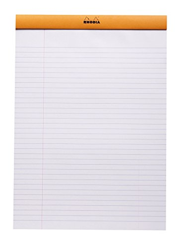 Rhodia Staplebound Notepads - Lined w/ margin 80 sheets - 8 1/4 x 11 3/4 in. - Orange cover