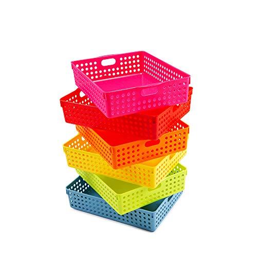 Yolju 6 Pack Plastic Basket with a Bonus File Bag for Classroom, School, Office. Rectangular Paper, File, Desk Organizer Storage Tray with Handles