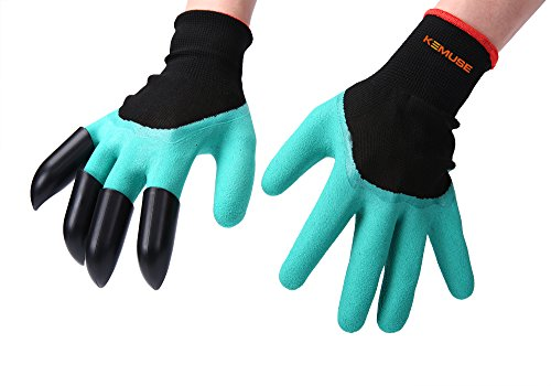 Kemuse Unisex Waterproof Garden Genie Gloves with Fingertips Unisex Right Claws Quick and Easy to Dig and Plant Safe for Rose Pruning, Composting As Seen on TV, Right Hand Claw, 1 Pair