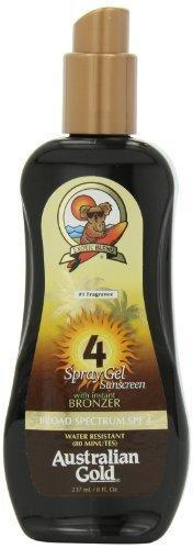 Australian Gold SPF 4 Spray Gel with Bronzer, 8 Ounce