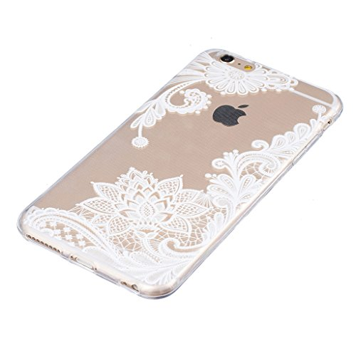 "Coque iPhone 7, IJIA Ultra-mince Transparent Fleurs Papillon Blanc TPU Doux Silicone Bumper Case Cover Shell Housse Etui pour Apple iPhone 7 (4.7"") + 24K Or Autocollant"