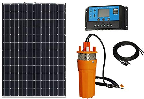 Solar Powered Water Pump w/100W Poly Solar Panel: 12V Submersible Well Pump 1.6 GPM & Mounting Kits - Farm, Ponds, Irrigation, and Camping: Portable