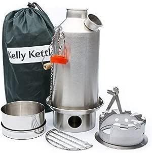 Kelly Kettle y Campamento Estufa Set: Includes....new Modelo Acero Inoxidable Base Camp 1,6 Litros Kettle® + Verde Silbato (Sustituye The Orange Tapón) + Hobo + Cook Set (Todo de Inoxidable).: Amazon.es: