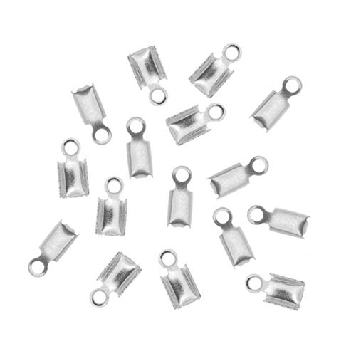 (DierCosy Stainless Steel Folding Crimping Terminal end Folding line end Leather Webbing end Buckle tip Jewelry Connector Component Jewelry Making 50 Pieces DIY Tools)