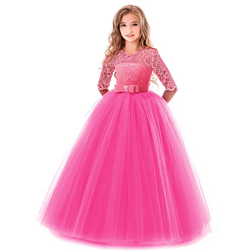Flower Girl Long Princess Dress Vintage Lace Maxi Gown Kids Formal Wedding Bridesmaid Pageant Tulle Dresses Little Big Girls Elegant Bowknot Dance First Communion Birthday Prom Dresses Hot Pink - Pageant Prom Formal Dance Gown