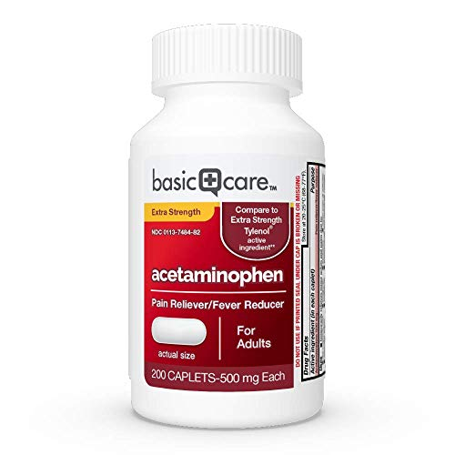 Basic Care Extra Strength Acetaminophen Caplets, 200 Count