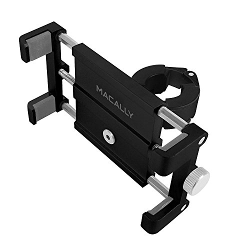 Macally Aluminum Bike Phone Mount Bicycle Holder on Handlebar for iPhone XS XS MAX XR X 8 8 Plus 7 7 Plus 6s 6+ 6 SE, Samsung S9 s9+ S8 S7 S6 S5 Edge Note & Other Mobile Smartphone Devices (BIKEMOUNT) ()
