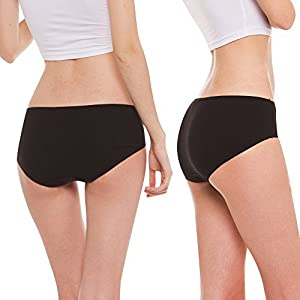 Hesta Rael Organic Cotton Panties Underwear - Premium Fabric Breifs, Comfortable, Breathable, Soft, Safe on Sensitive Skin for Women (Small, 3Black)