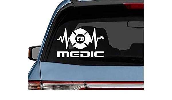 StickerLoaf Brand MEDIC EKG Maltese Cross car truck Laptop Decal Sticker decals sticker EMT EMS heart qrs complex firemedic firefighter emt ems rn lpn cna paramedic flight medic nurse rescue fire fd